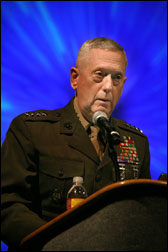 USMC General James Mattis, NATO's Supreme Allied Commander Transformation and Commander, U.S. Joint Forces Command, speaks at NATO conference in Monterey February 26, 2009.